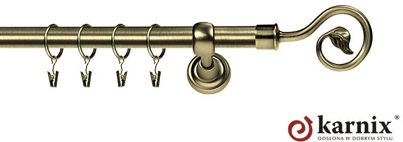 Karnisz Metalowy Rzymski pojedynczy 16mm Spiralka antyk mosiądz