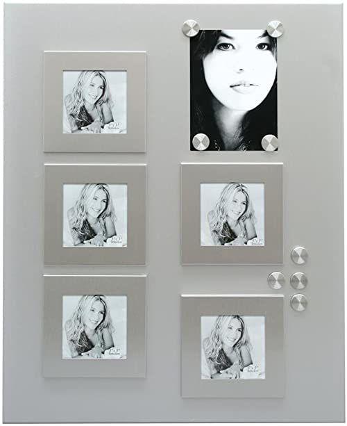 Deknudt Frames S58MN1 tablica magnetyczna i magnesy 40 x 50 ściana magnetyczna w kolorze srebrnym + 5 ramek 9 x 9 cm + 8 magnesów, metalowa tablica magnetyczna