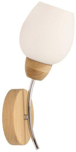 SPOTLIGHT kinkiet PARMA WOOD drewno dębowe kolor dąb olejowany Metal Chrom biały klosz, 8320174