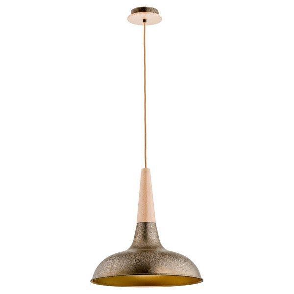 Lampa wisząca zwis DORO drewno/złoty śr. 39,5cm
