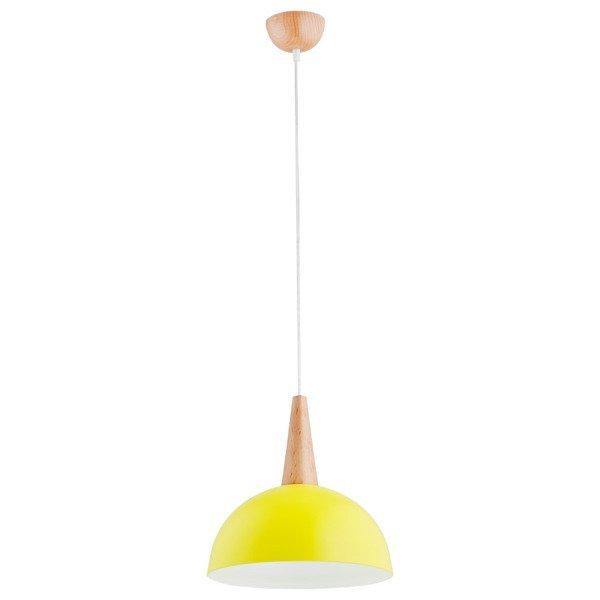 Lampa wisząca zwis ANJA drewno/żółty śr. 30cm