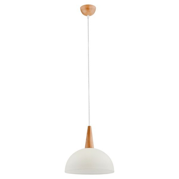 Lampa wisząca zwis ANJA drewno/perłowy śr. 30cm