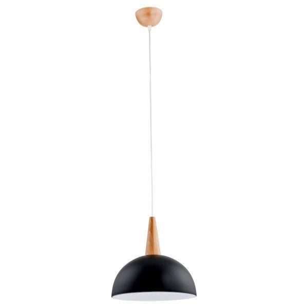 Lampa wisząca zwis ANJA drewno/grafitowy śr. 30cm