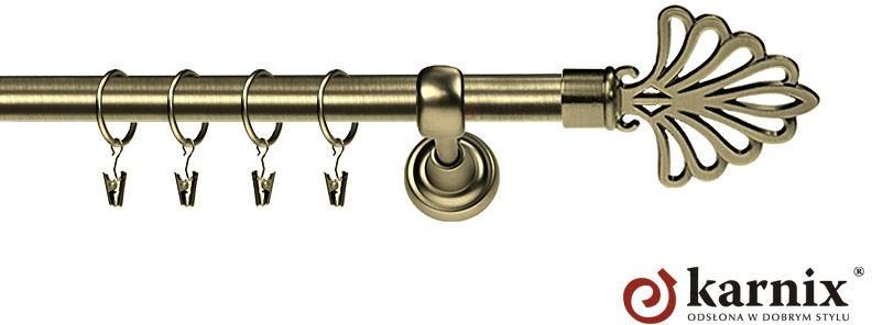 Karnisz Metalowy Rzymski pojedynczy 16mm Wachlarz antyk mosiądz