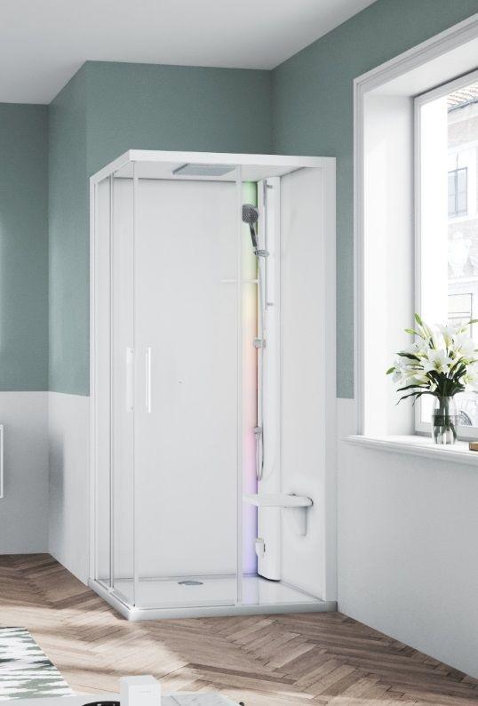 Novellini Glax 1 2.0 kabina z sauna parową 80x80 biała G21A89T5-1UU