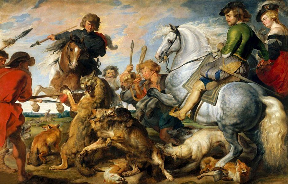 Wolf and fox hunt, rubens - plakat wymiar do wyboru: 84,1x59,4 cm