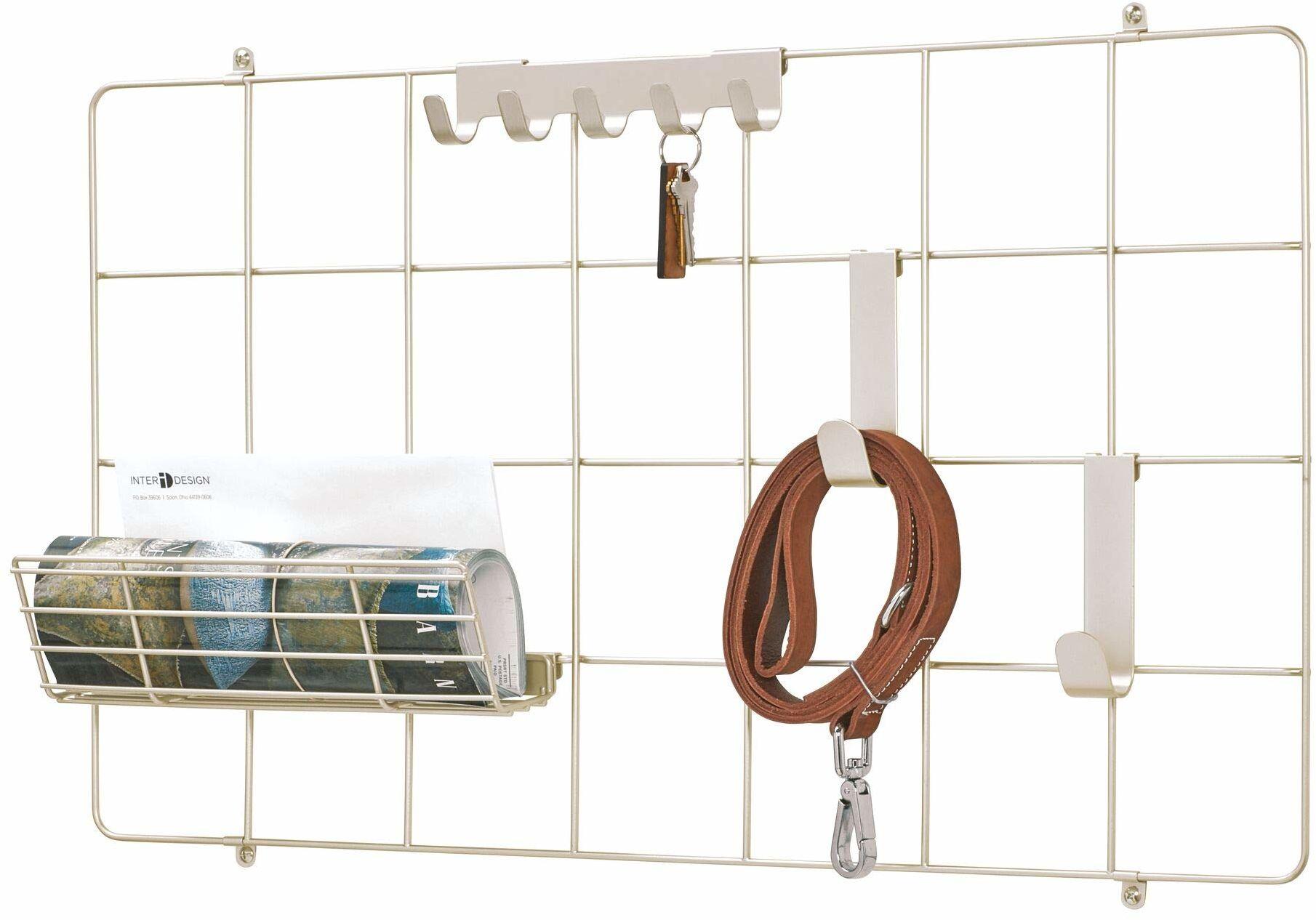 iDesign kratka ścienna do systemu modułowego, kompaktowa metalowa tablica do notatek z drutu metalowego do łączenia z haczykami, koszami i innymi akcesoriami, nowoczesna siatka ścienna, matowe srebro