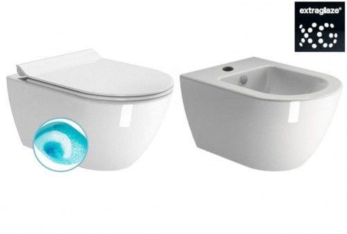Miska WC wisząca 50x36 cm z deską+Bidet podwieszany 50x36 cm+ elementy montażowe biały połysk GSI PURA ExtraGlaze