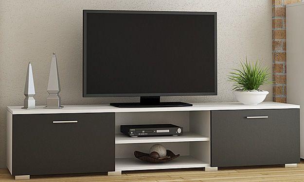 Szafka na sprzęt RTV Pixelo - biało-czarna