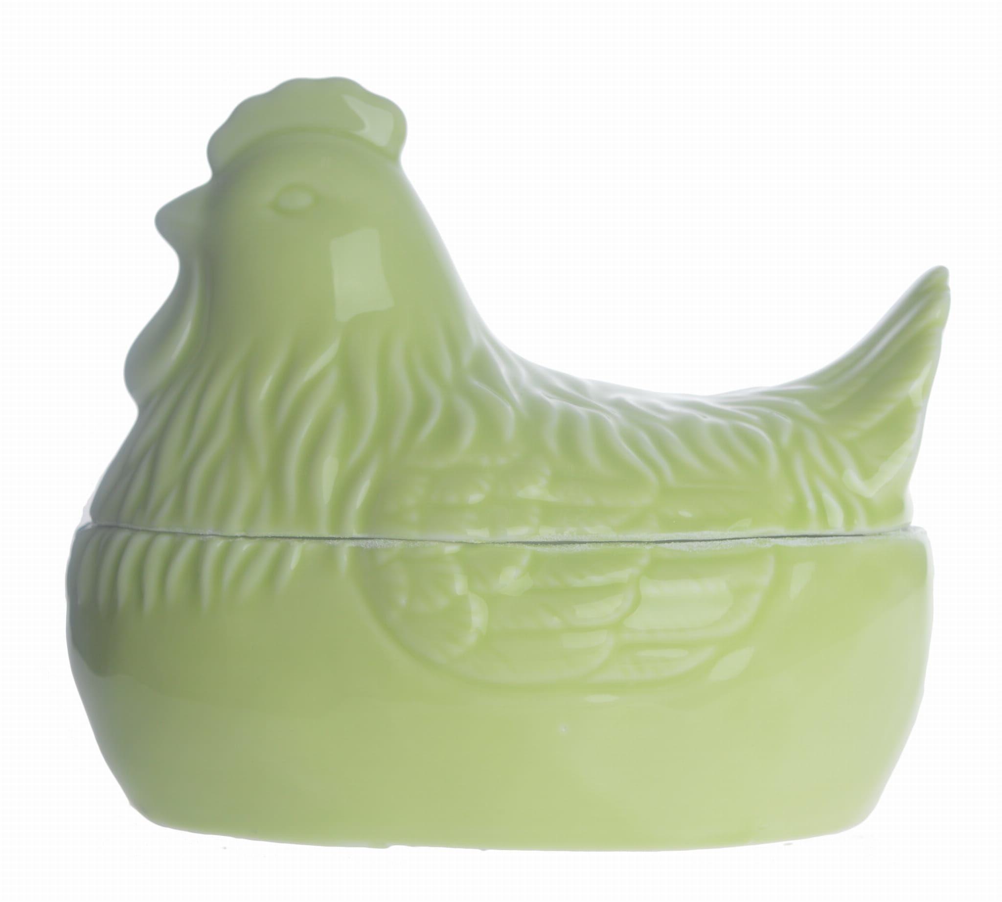 Świąteczny pojemnik w kształcie kury zielony