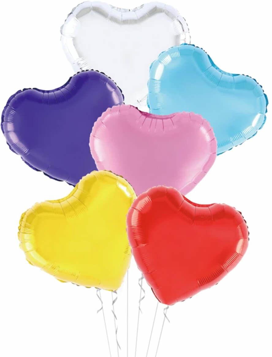 Balony foliowe Serca kolorowe - 45 cm - 6szt.