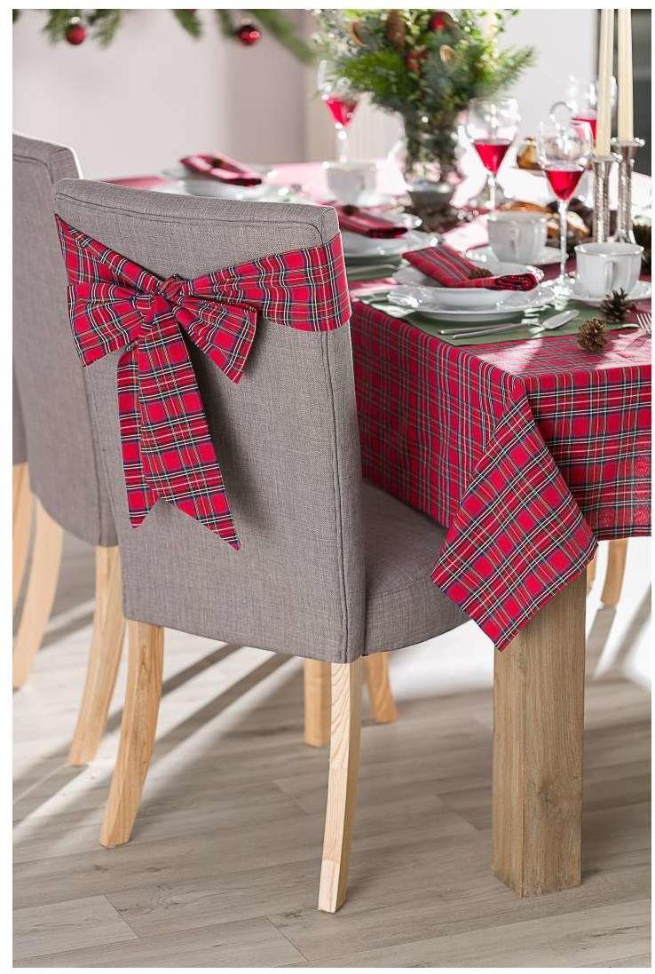 Szarfa na krzesło 270x12cm, czerwona kratka, 270  12 cm, Bristol