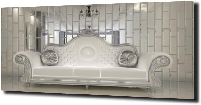 obraz na szkle Sofa glamour lustro