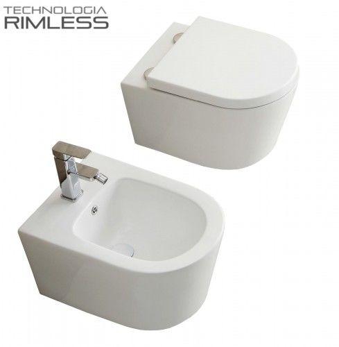MUSZLA WC RIMLESS 36x50 cm+ BIDET 36x50 cm + DESKA DUROPLAST STANDARD