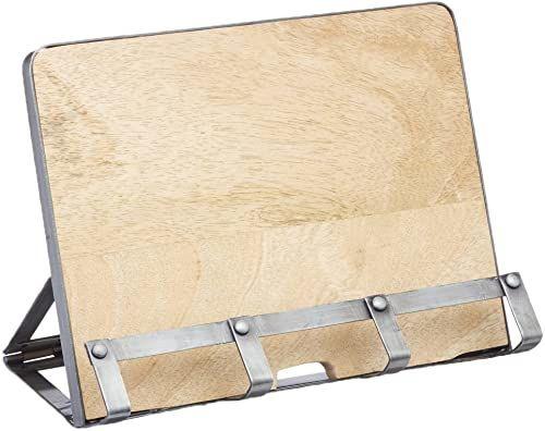 KitchenCraft przemysłowy metal kuchenny/drewniany stojak na książki kucharskie i uchwyt na tablet, 26 x 21 cm (10 cali x 8,5 cala)