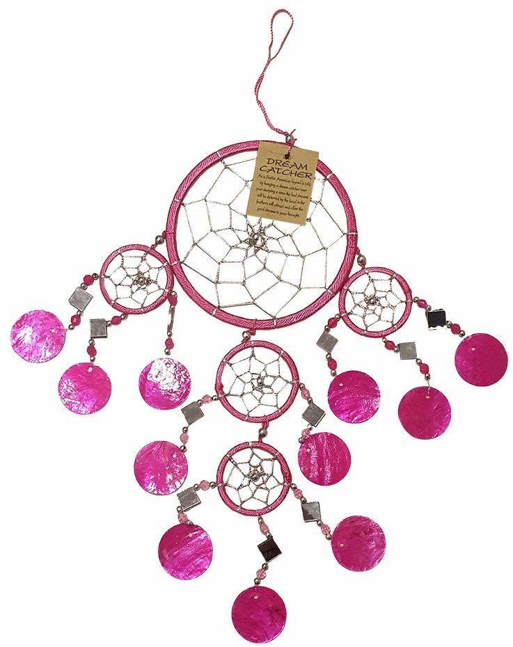 VIE Naturalny łapacz snów Capiz, 12 cm, różowy