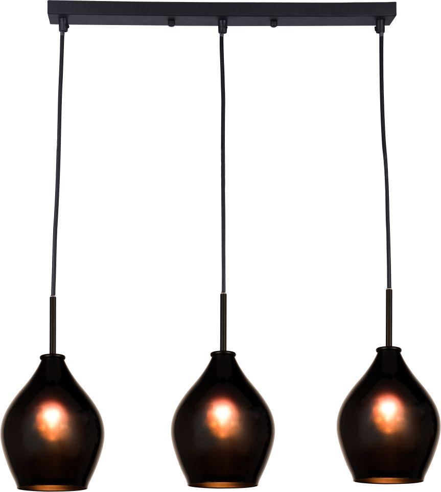 Lampa wisząca Kuala Lumpur P03571BK COSMOLight potrójna czarna oprawa w stylu nowoczesnym