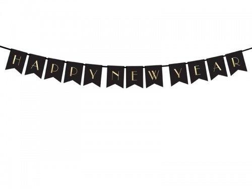 Girlanda, baner noworoczny Happy New Year, czarny