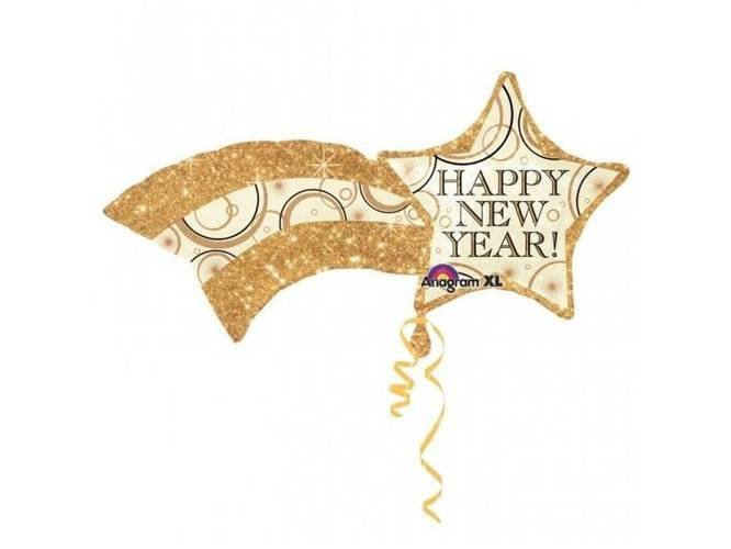 Balon foliowy gwiazda Happy New Year - 56 x 69 cm - 1 szt.