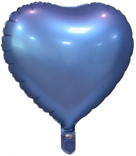 """Balon foliowy 18"""" Serce niebieskie, matowe"""