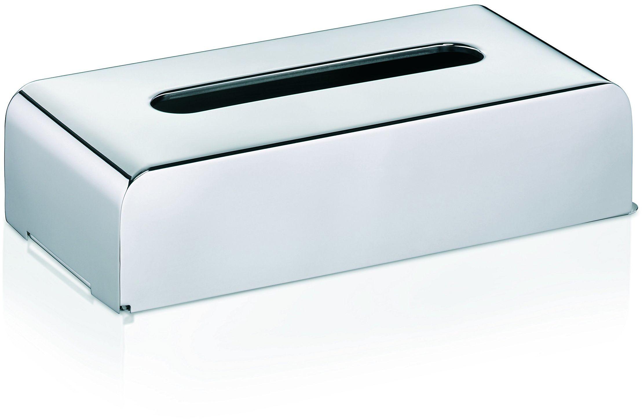 KELA 22860 pudełko na chusteczki kosmetyczne z uchwytem ściennym, 27 x 12,5 x 7 cm, stal szlachetna 18/10, kolor srebrny błyszczący