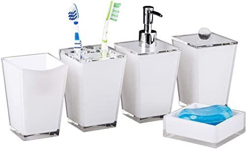 Relaxdays Zestaw akcesoriów łazienkowych, kubek na szczoteczki do zębów, pojemnik na szczoteczki do zębów, dozownik mydła, pudełko do przechowywania, biały