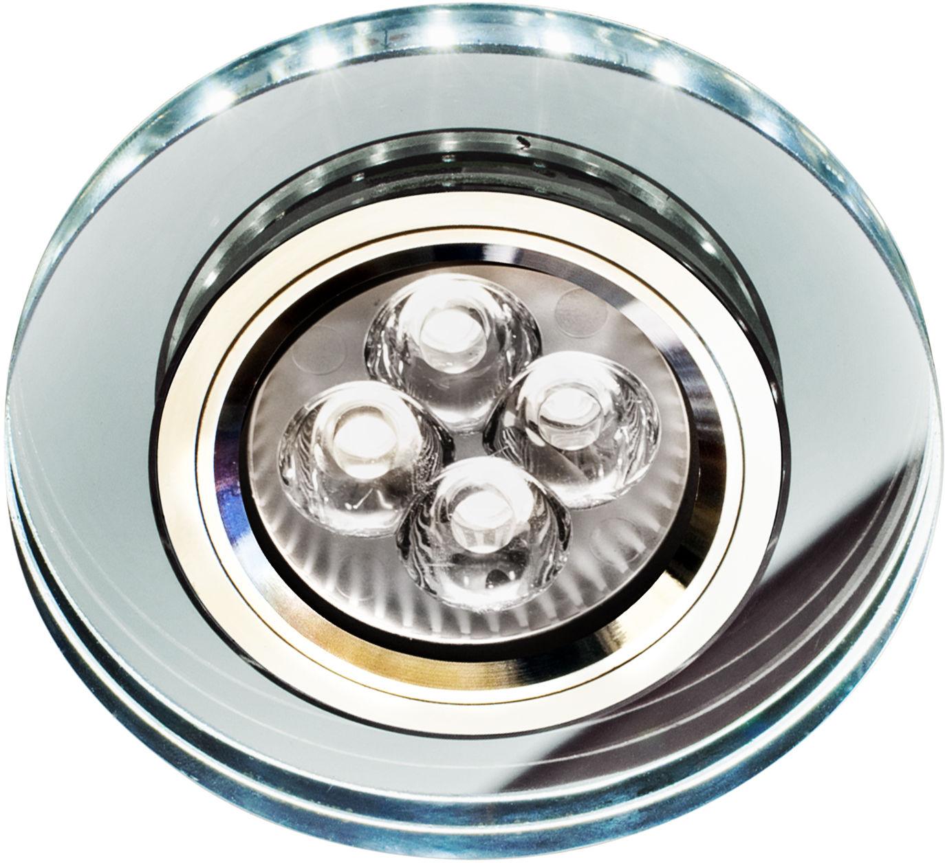 Candellux SS-23 CH/TR+WH 2226941 oprawa do wbudowania stropowa GU10 50W+LED SMD 230V biały 2 1W chrom oczko sufitowe szkło transparentne 9cm