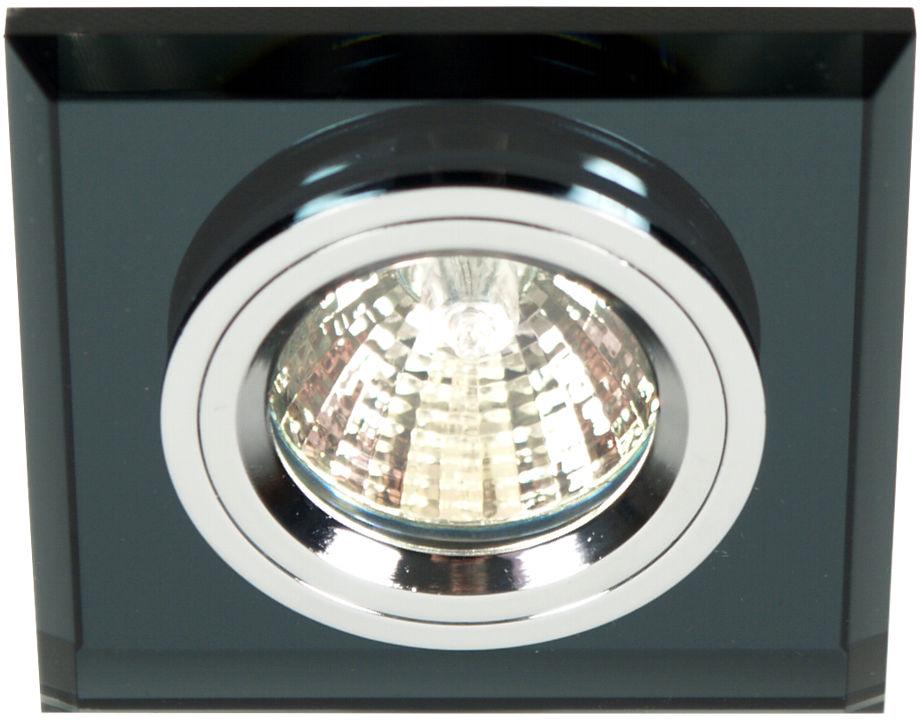 Candellux SS-13 CH/BK 2231627 oprawa do wbudowania stropowa chrom MR16 oczko sufitowe kwadratowa szkło czarne min.6,4cm
