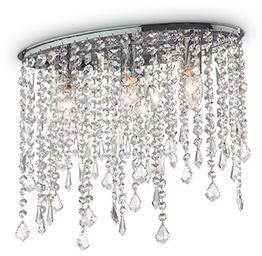 Plafon Rain Clear PL3 008370 Ideal Lux transparentna oprawa w stylu kryształowym