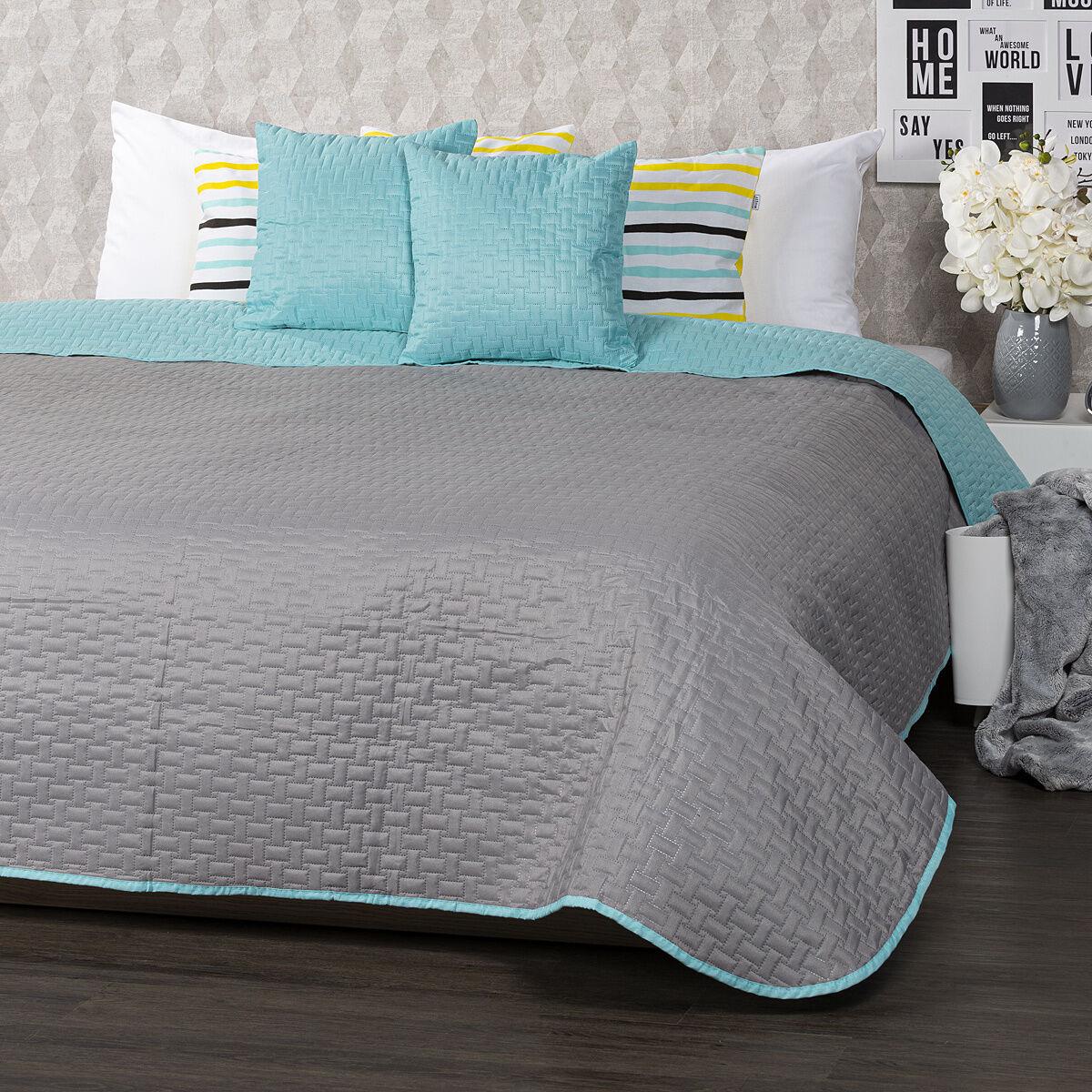 4Home Narzuta na łóżko Doubleface turkusowa/szara, 220 x 240 cm, 2 szt. 40 x 40 cm
