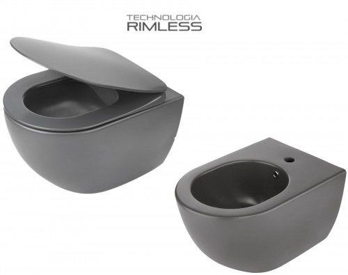 ZESTAW: Miska WC 51x36x35,5 cm RIMLESS+deska wolnoopadająca SLIM+bidet, Antracyt