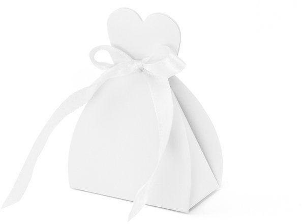 Pudełeczka dla gości weselnych Panna Młoda sukienka biała 10 sztuk PUDP1-K