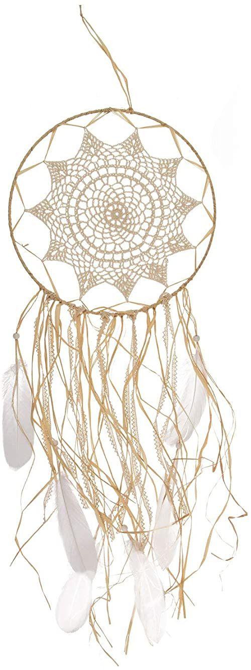 Kremowy łapacz snów z piórami i taśmami z łyka, ok. 30 x 67 cm