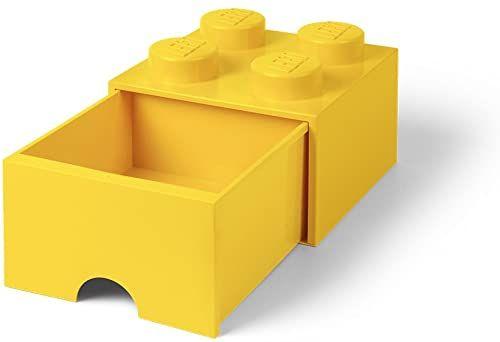 Room Copenhagen 40051732 Storage Brick 4 z szufladami, plastik, żółty, 25 x 25,2 cm