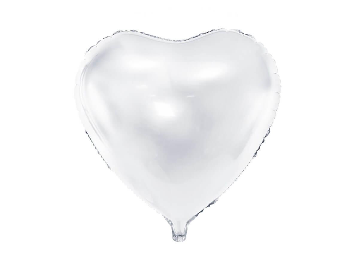 Balon foliowy Serce białe - 61 cm - 1 szt.