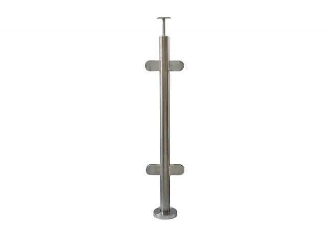 (39) Słupek podłogowy środkowy z 4 uchwytami do balustrady szklanej, h=86cm, nierdzewny AISI304,