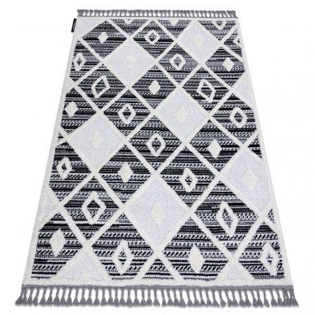 Dywan MAROC P662 Romby czarny / biały Frędzle berberyjski marokański shaggy 80x150 cm
