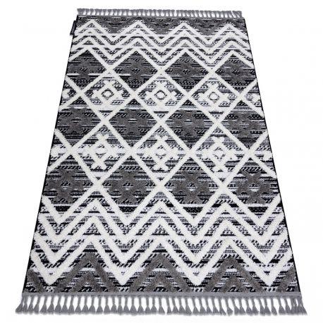 Dywan MAROC P642 Romby Zygzak szary / biały Frędzle berberyjski marokański shaggy 80x150 cm