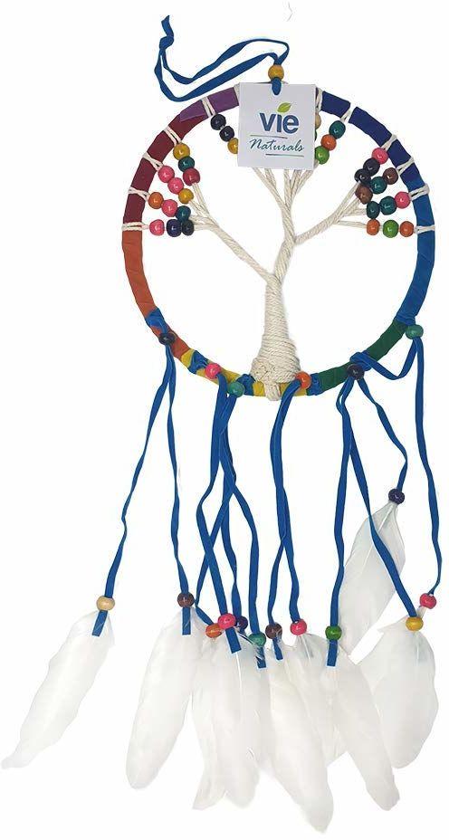 VIE Łapacz snów naturalne drzewo życia, 16 cm, tęcza