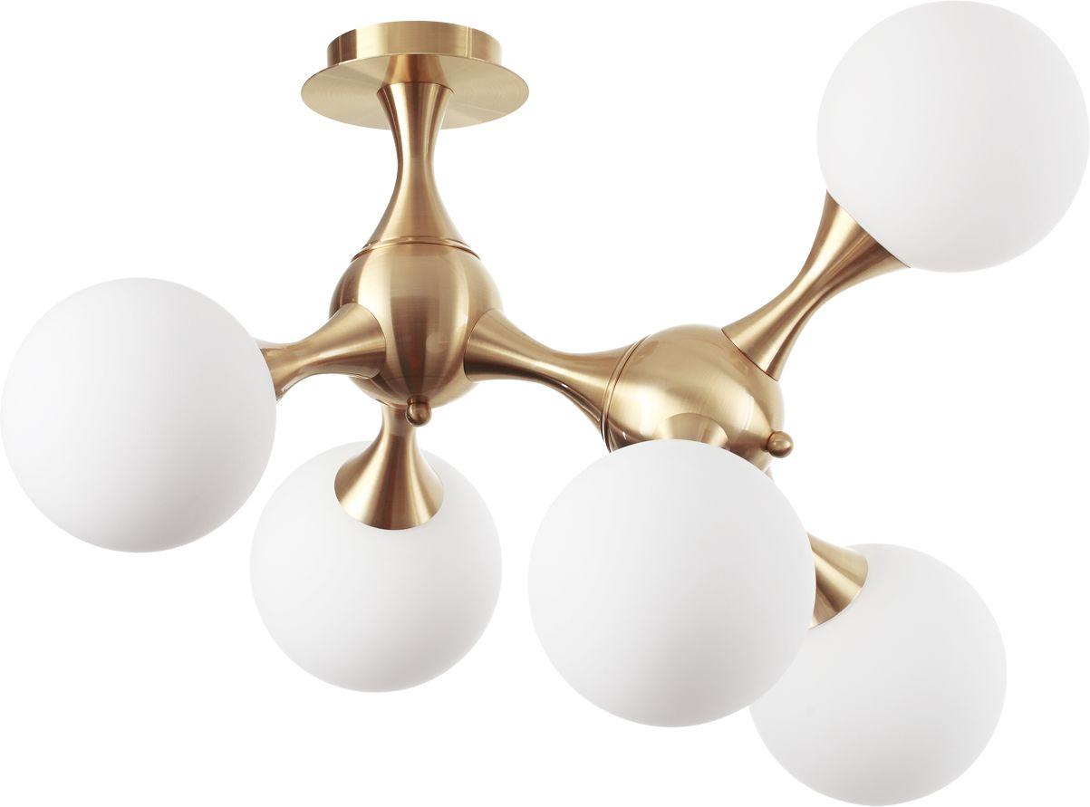 Plafon sufitowy Nodi PL5 241050 Ideal Lux mosiężna lampa sufitowa w stylu glamour