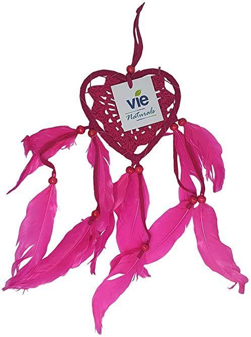 VIE Naturalny łapacz snów w kształcie serca, 9 cm, różowy