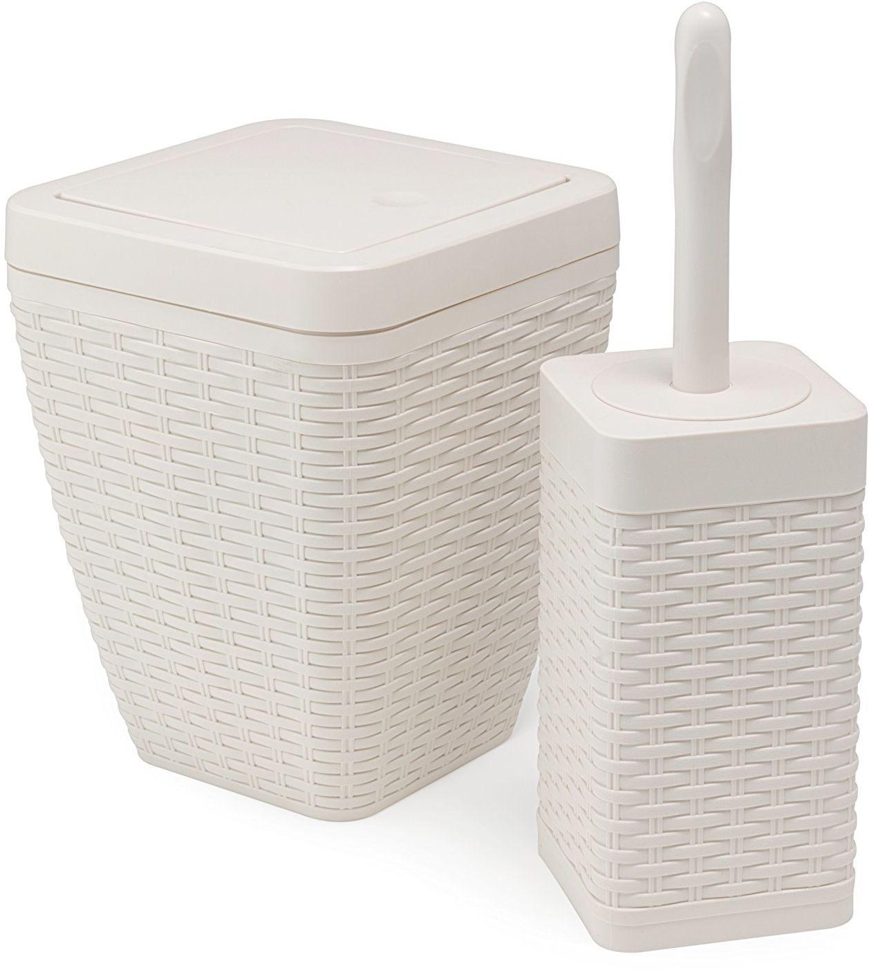 Addis sztuczny rattanowy kwadratowy zestaw łazienkowy zawiera kosz do siedzenia i szczotkę do toalety, lniany z perkalu