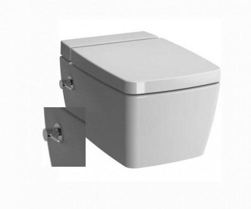 Miska rimless wc z bidetem z baterią z deską soft close 56x36x33 cm , biała Metropole