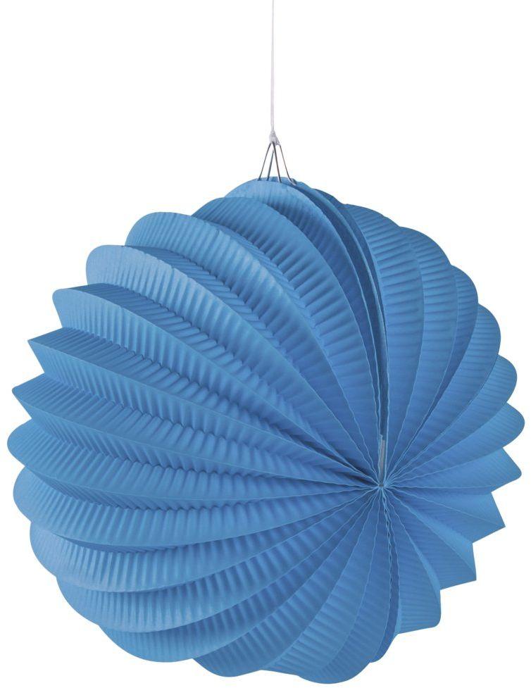 Rayher 87106374 papierowy lampion, łącznie ze sznurkiem do zawieszania, średnica 22 cm, lazurowy niebieski, dekoracja na imprezę