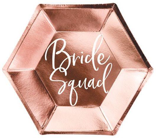 Talerzyki na Wieczór Panieński Bride squad różowe złoto 23cm 6 sztuk TPP21-019R