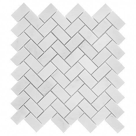 DUNIN Black & White mozaika kamienna Eastern White Herringbone 48