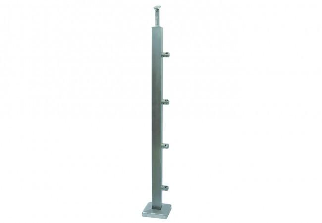 (25) Słupek podłogowy profil 40x40x2 mm, h=86 cm, z 4 przelotkami fi 12, stal nierdzewna AISI 304