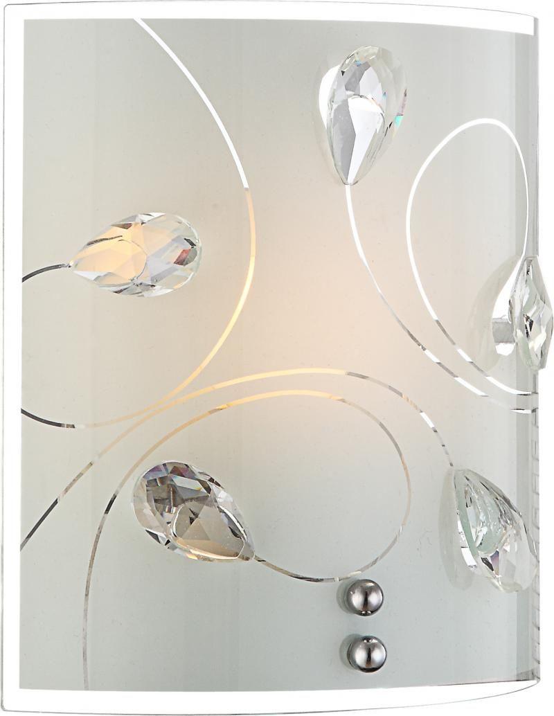 Globo kinkiet lampa ścienna Alivia 40414-1W szkło opalizowane, kryształy K5