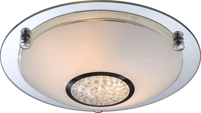 Globo plafon lampa sufitowa Edera 48339-2 chrom, szkło opalizowane, kryształy K5 31,5cm