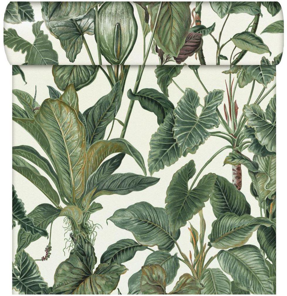 Tapeta w liście Paradisio zielono-biała winylowa na flizelinie